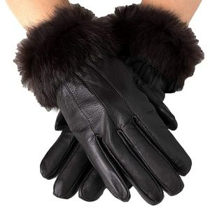 AlpineSwiss Leather Fur Gloves